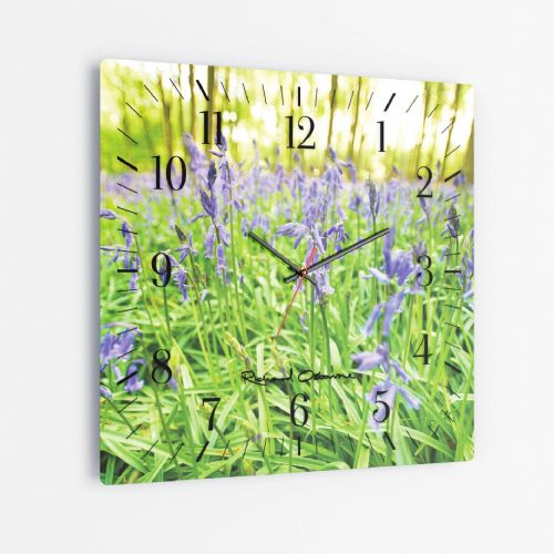 Bluebells - Square Glass Clock
